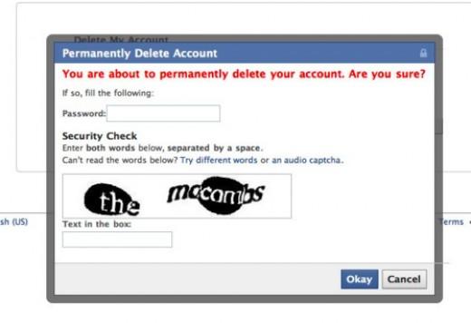 Facebook: Password and Captcha