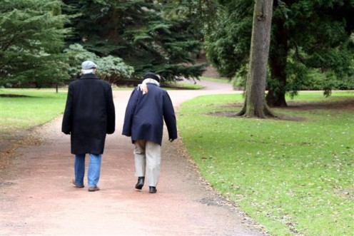 Elderly Couple Walking on a Path