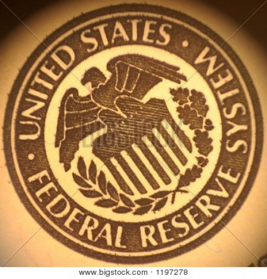 The seal of the Federal Reserve; the private bank that was behind massive bailouts in 2009.