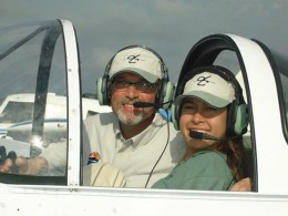 With her flight instructor