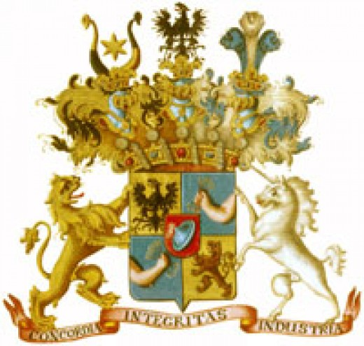 Rothschild family coat-of-arms. Image from Wikipedia and believed to constitute fair use.