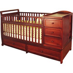 Available at Walmart. Photo credit- walmart.com. AFG Daphne Toddler Crib and Changer, Cherry.