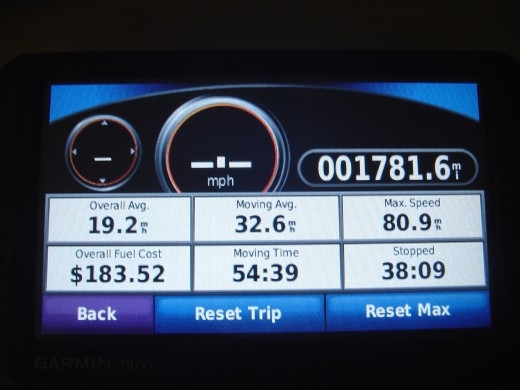 The trip log contains information about your driving and adds additional instruments: digital speedometer, compass and trip meter