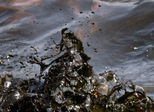 """Black waves of oil are seen off the side of the supply vessel Joe Griffin on May 9."" From The Huffington Post."