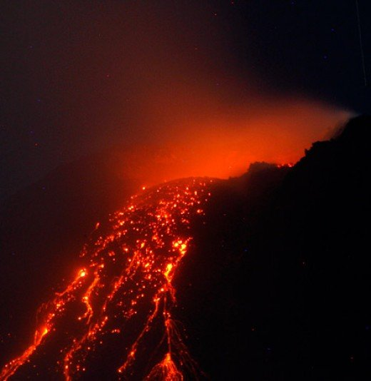 This flow of lava is used as a depiction of the lake of fire in hell.