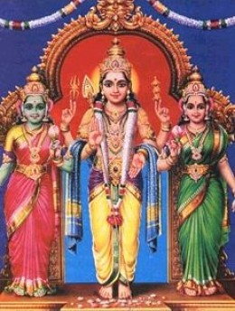 Murugan with his consorts -- Valli at the left and Devayani at the right.