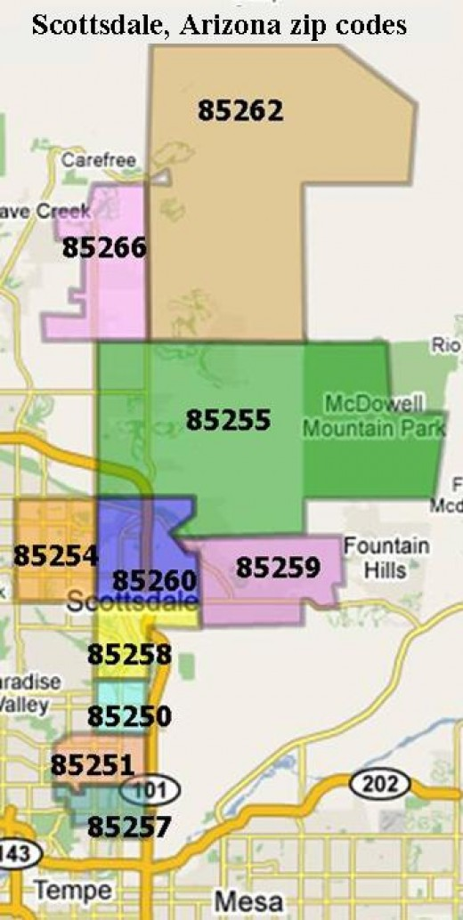 Zip Code map of Scottsdale Arizona