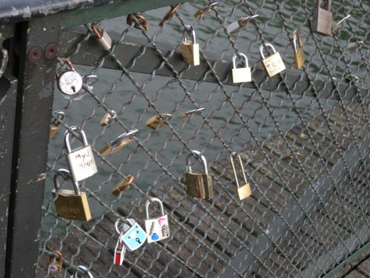 On one of the bridges, there were all of these locks... lots of messages of love.