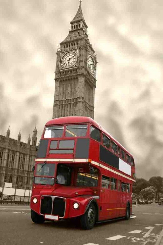 Good old British Bus, with Big Ben in the background.