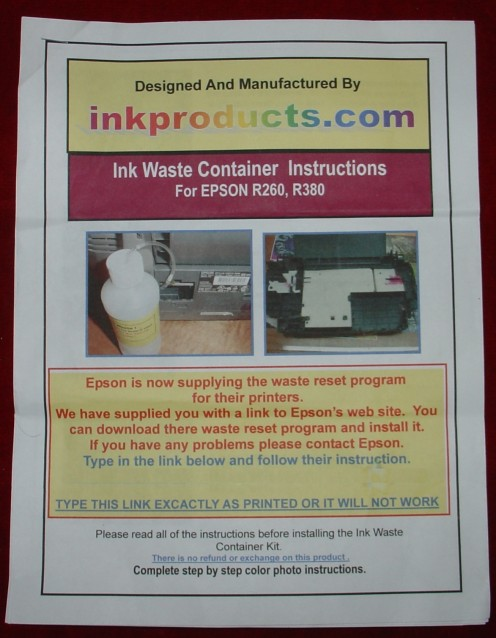 Instructions for Waste Ink Kit