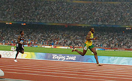 Bolt leads the field in the closing stages of the 200-m finals