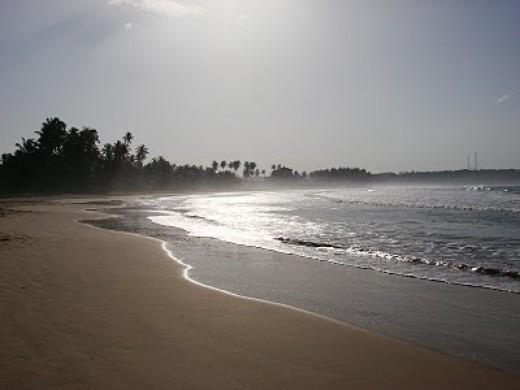 Beautiful beach surrounding the Dickwella Beach resort