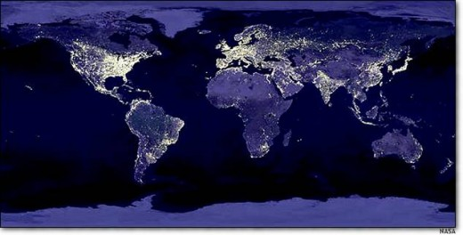 6. Light of the world This composite image shows what Earth looks like at night. City lights highlight developed areas of the planet.
