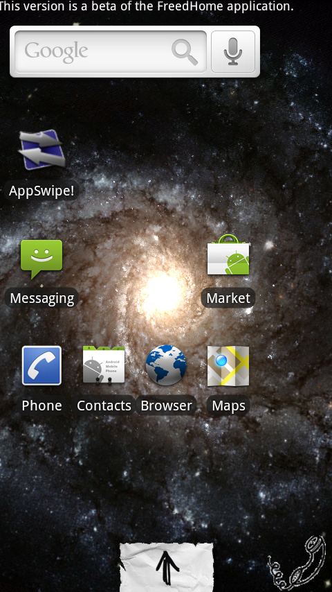 "FreedHome with Galactic Core Live Wallpaper, and ""paper"" theme. Note that the icon density, both vertical and horizontal, is adjustable. Also note the static shortcuts at bottom."