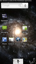 """FreedHome with Galactic Core Live Wallpaper, and """"paper"""" theme. Note that the icon density, both vertical and horizontal, is adjustable. Also note the static shortcuts at bottom."""