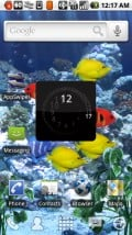 """LauncherPro, using """"Aquarium Free"""" live wallpaper. All 5 (yes, FIVE) spots are customizable, and you get multiple docks (scrollable) to play with."""
