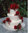 Wedding cake decorated with fresh flowers!