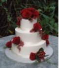 Wedding cake decorated with fresh flowers!