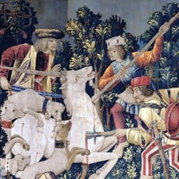 "Detail from ""The Unicorn is Killed and Brought to the Castle"", a tapestry on display in the Cloisters Museum (New York)"
