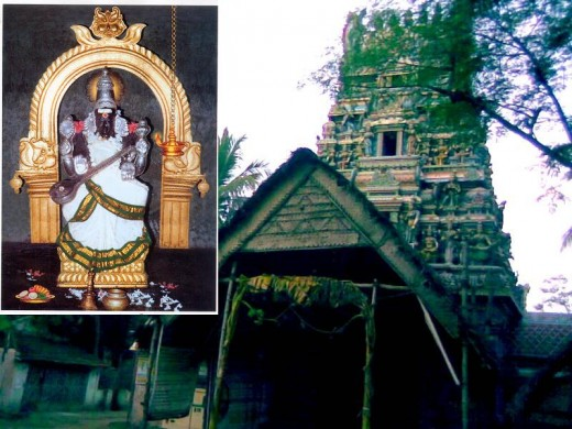La única históricamente antiguo templo dedicado a Sarawati, en Koothanur.