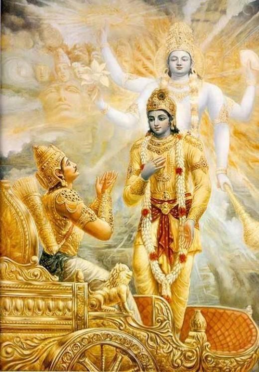 Krishna, una gloriosa Avatar de Vishnu.  Él dio una conferencia Bhagavad Gita a Arjuna en el frente de guerra y reveló su forma divina cósmica (Viswarupa) a Arjuna.