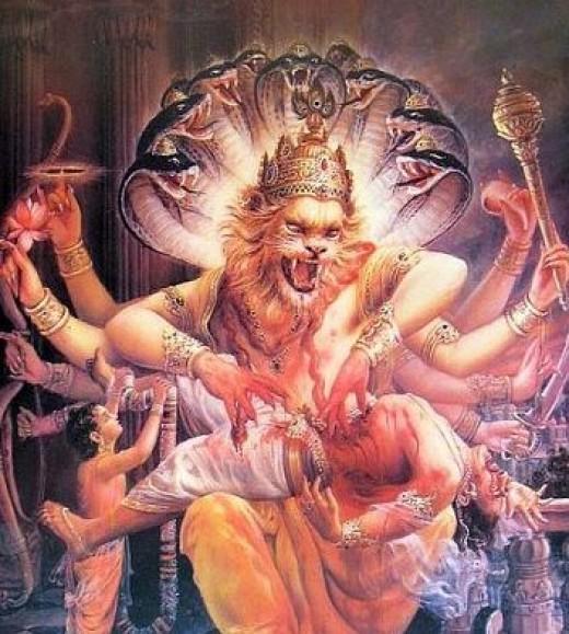 Narasimha, una feroz Avatar de Vishnu.  Mató demonio Hiranyakashipu, con las uñas.