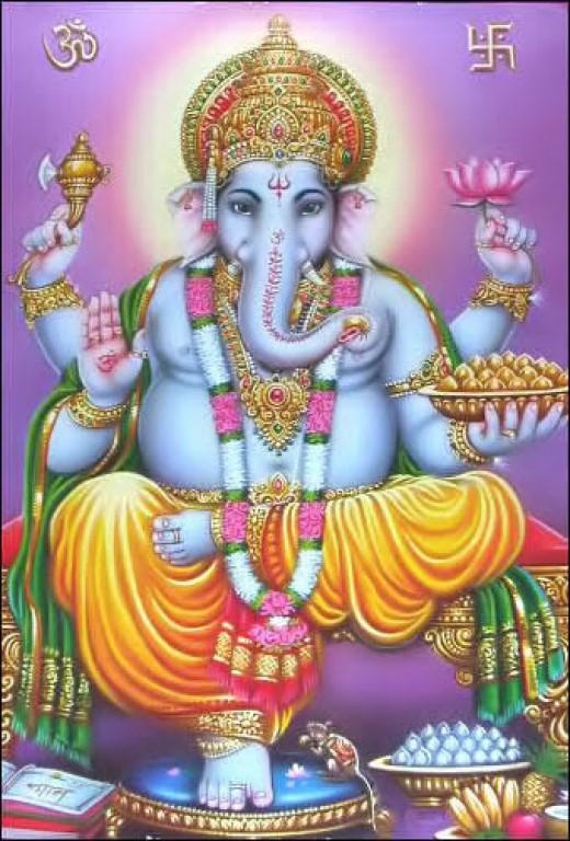 Ganesha o Vinayaga.  El primer hijo de Shiva.  Él es cabeza de elefante.  Él se simboliza Om, el símbolo secreto del hinduismo.