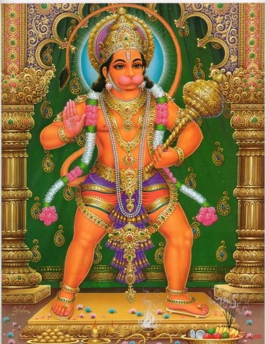 Anjaneya o Hanuman, el humilde sevant del Señor Rama.  Dondequiera que se canta el nombre de Rama él estará allí con los ojos se inundan de lágrimas de alegría, para bendecir a los devotos de Rama.