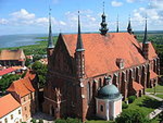 The cathedral in Frombork where Copernicus was reburied in a tomb.