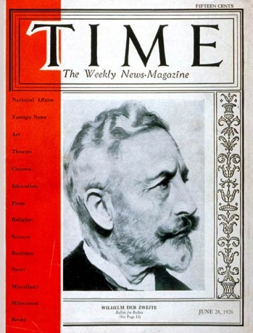 Kaiser Wilhelm II on the cover of Time Magazine