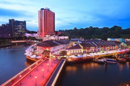 Clarke Quay during twilight