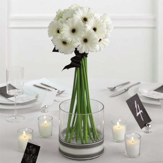 Inexpensive centerpieces for bridal shower or weddings gerber daisies in