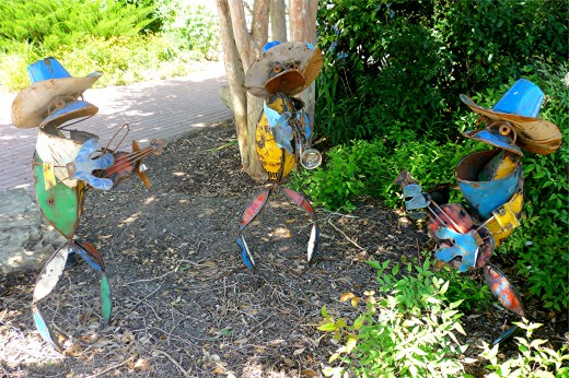 Whimsical sculptures in the front of Martha's Bloomers