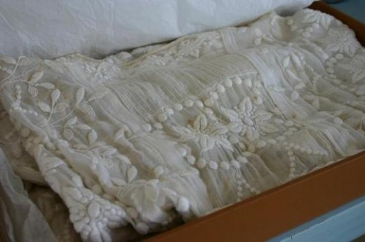 Antique gowns can be worn by generations of brides if properly stored.