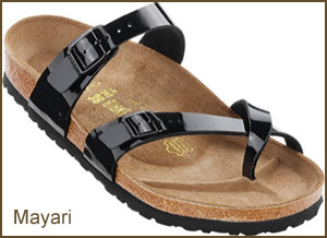 Patent style Birkenstock sandals for women