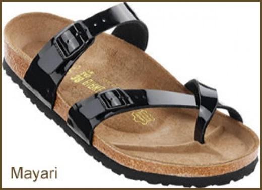 Patent style Birkenstock sandals for women