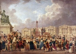 A revolutionary tribunal found the King and Queen guilty of treason against France. Execution by guillotine of Louie XVI, January 21, 1793.