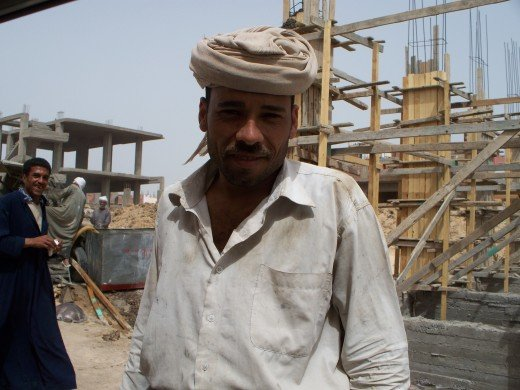 A friendly construction worker in Egypt