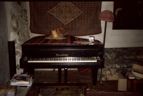 The silent piano. Chris's beloved Bosendorfer at the Moulin in May 1990