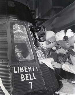 Grissom enters Liberty Bell 7. Photo courtesy of NASA.