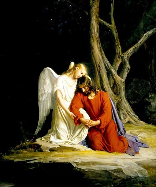 Angel comforts Christ in the Garden of Gethsemene