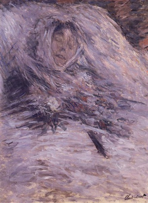 CAMILLE MONET ON HER DEATHBED (1879).  AFTER THE COMPLETION OF THIS PAINTING MONET TURNED ALMOST EXCLUSIVELY TO LANDSCAPES. THIS PICTURE WAS STILL HANGING IN HIS ROOM WHEN HE PASSED ON 47 YEARS LATER.