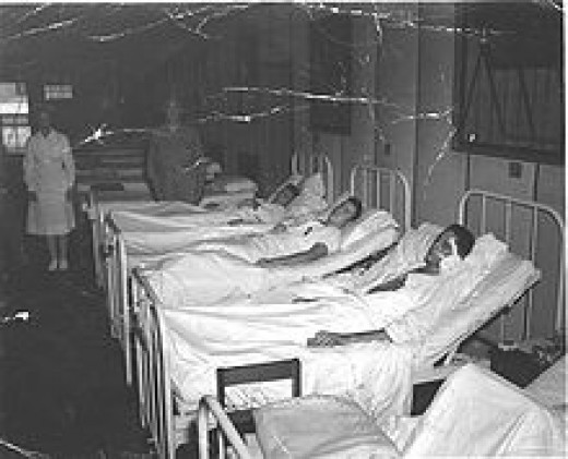 Wounded from the battle of Peleliu recovering at Guadalcanal