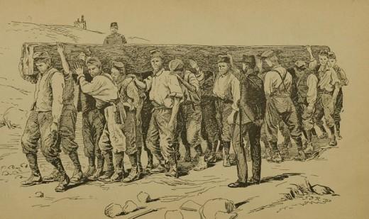 "CHAIN GANG. Arthur Griffiths: ""Secrets of the Prison-House - Gaol Studies and Sketches"". 1894. (Public domain)"