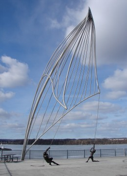 A Sailing Sculpture along Hamilton's waterfront.