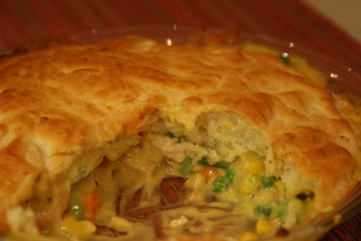 The inside of our Bisquick crusted chicken pot pie.