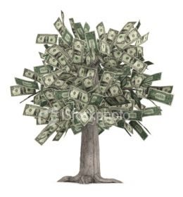 A tree made of money. Get your own money tree and sign up to Bukisa.