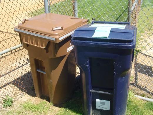 A closeup of the bins