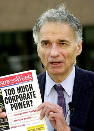"Consumer Advocate Ralph Nader, whose book, ""Unsafe at Any Speed,"" criticized the safety record of American automobile manufacturers and, principally, the Chevrolet Corvair."