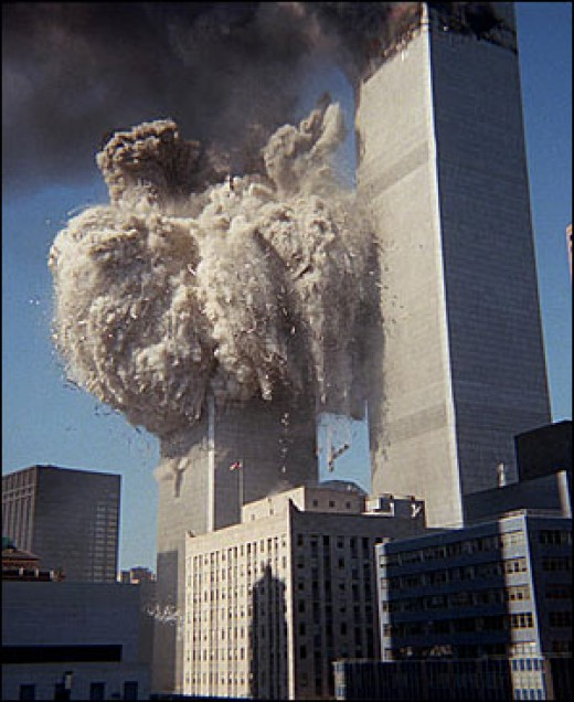 The collapse of tower 1 shortly after it was struck. Tower 2 collapsed later.